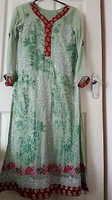 green chiffon embroidered suit pakistani kameez asian indian maria b gul ahmed S