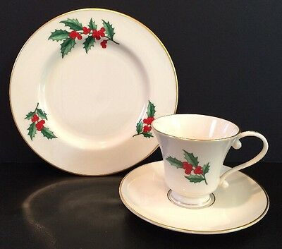 VTG 3 Piece Pickard Ivory China Holly Berry Gold Rim Cup & Saucer & Plate USA