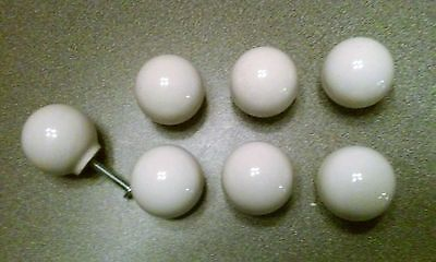 Lot of 7 White Ceramic Drawer Pulls Knobs Drawer Desk Cabinet Hardware VGUC