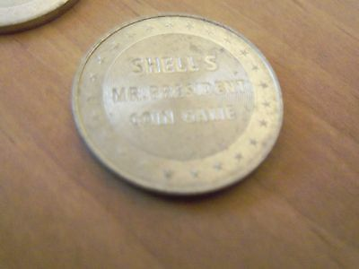 10 Shell Coins from 1960's Advertising Game-Mr Presidents Tokens