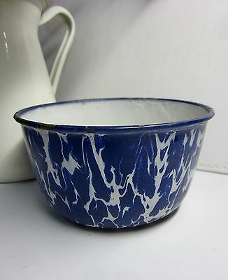 Antique or Vintage Small  Blue and White Enamel Bowl