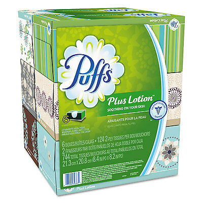 Plus Lotion Facial Tissue, White, 2-Ply, 8 1/5x8 2/5, 124/box, 6bx/pk, 4pk/ctn