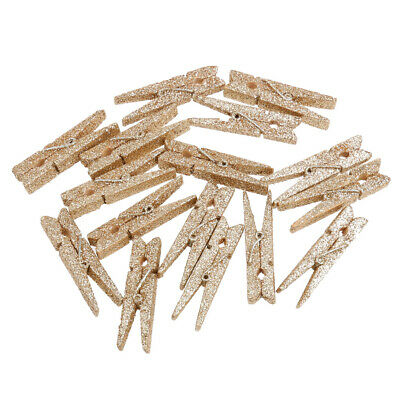 20xCOLOR GLITTER WOODEN CRAFT PEG SPRING CLIPS CLOTHES PIN FOR WEDDING DECOR