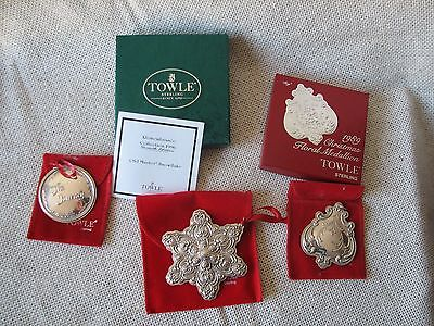 3 Vintage TOWLE Sterling CHRISTMAS Ornaments