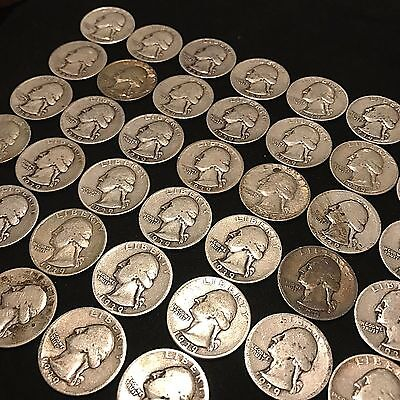 ALL 1939 WASHINGTON QUARTER FULL ROLL $10 FACE VALUE 40 COINS SILVER 90%  p70
