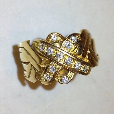 6-band Yellow Gold and Diamond Puzzle Ring