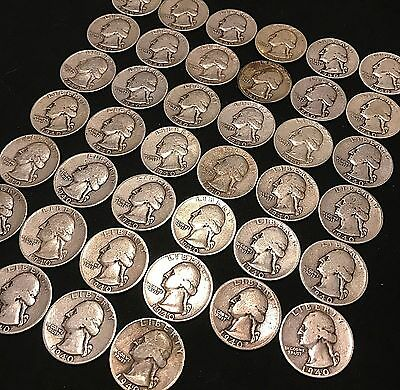 ALL 1940 WASHINGTON QUARTER FULL ROLL $10 FACE VALUE 40 COINS SILVER 90%  p71