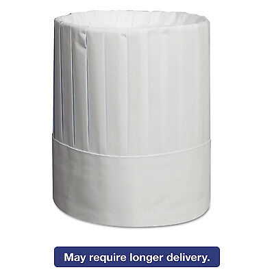 Pleated Chef's Hats, Paper, White, Adjustable, 9 In Tall, One Size, 24/carton