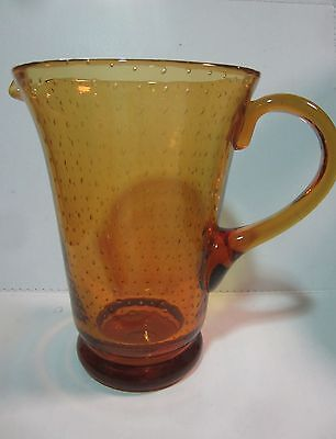 Vintage Tall Amber Art Glass Jug with Controlled Bubbles