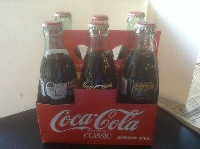 Collectible 6 Pack of Coca Cola Classic Full with Caps & Variety of Labels