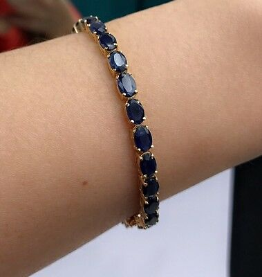14k Solid Gold Tennis Bracelet, Natural Oval Sapphire 6.75Inches, 14TCW