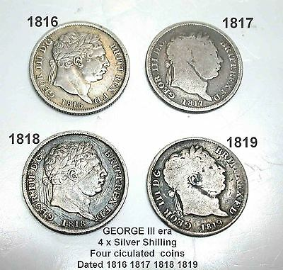 George III silver Shilling x 4  1816 1817 1818 1819 Four Ciculated coins