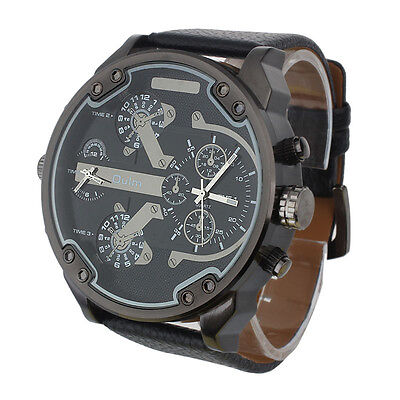 Luxury Men's Watches Military Army Dual Time Quartz Large Dial Wrist Watch