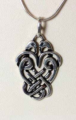 """Beautiful Sterling Silver Celtic Knot with Doves Pendant Necklace 18"""" – 7443"""