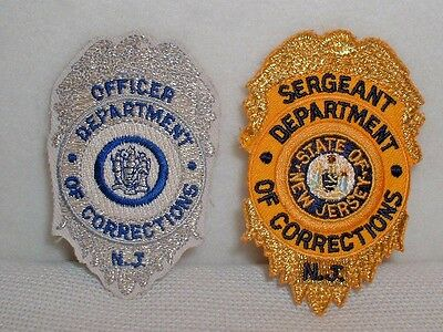N.J. Dept. Of Corrections Officer & Sergeant Embroidered Patches Pair-New/Unused