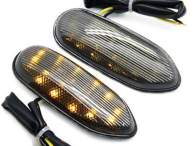 Smoke Led Mirrors Block Off Turn Signals Indicators For 05-09 Gsxr 600 750 1000