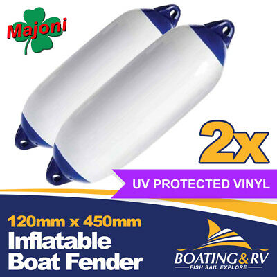 120 x 450mm Blue Tip Inflatable Boat Fenders | Set of 2 Quality Vinyl Fenders