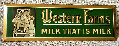 VERY RARE 1922 Western Farms Milk Tin Wall Sign--New Old Stock! Pristine!