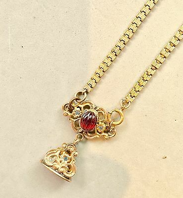 Antique Victorian Book Chain Necklace With 6ct Hand Carved Pink Tourmaline !