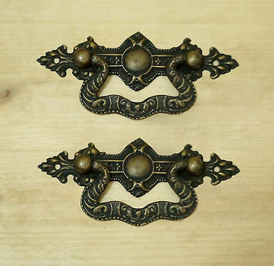 Lot of 2 pcs Antique Vintage ART DECO Artistic Handle Brass Drawer door pulls