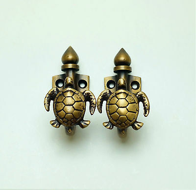 "2.99"" 2 pcs Vintage Turtle Solid Brass Hat Coat Strong Wall Mount HOOK Hanger"