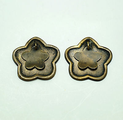"2.00"" Lot of 2 pcs Vintage Solid Brass STAR Drop Pull Round Cabinet Knob Pulls"