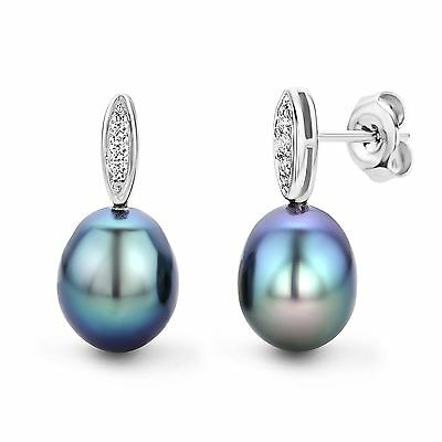Miore 9 ct White Gold Freshwater Pearl and Diamond Drop Earrings