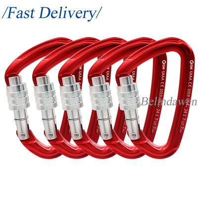 5 Pack 24kN D Shape Screw Gate Carabiner Keylock for Climbing Camping Tactical