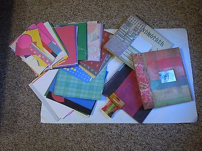 Scrap Book Lot, mixed lot of stamps, paper ,albums and a stencil