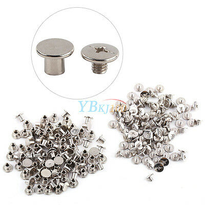 100PCS Nickel Binding Screws Nail Rivets Photo Album Leather Craft M5x6mm Set