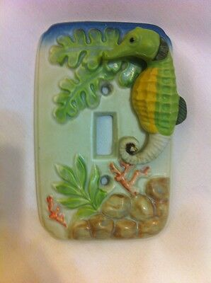 Vintage Seahorse Hand Painted Ceramic Single Switch Plate Cover  ULTRA RARE VHTF