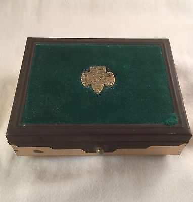 Vintage Pre WWII Girl Scouts GS GSA Brass Felt Jewelry Pin Box ONLY ONE ANYWHERE