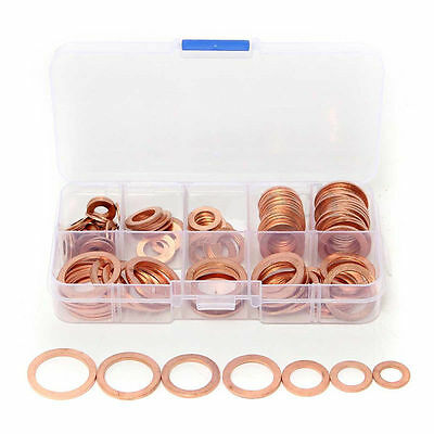 120Pcs 8 Sizes Assorted Solid Copper Crush Washers Seal Flat Ring Set With Box *