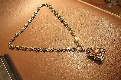 MINTY Gold Filled Book Chain Necklace w/14K/925 Amethyst Pendant No Scrap 46g