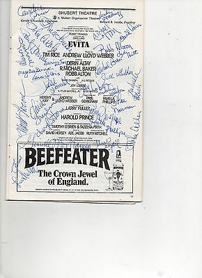 Playbill Evita Autographed signed by Cast 1983