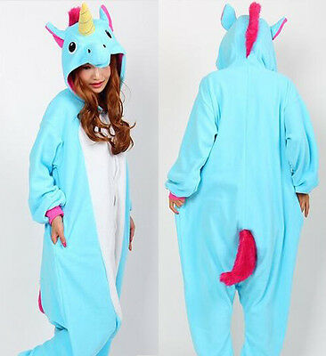 Onesie Tenma Unicorn Kigurumi-Pajamas Animal Cosplay costume Unisex Adult Blue*/