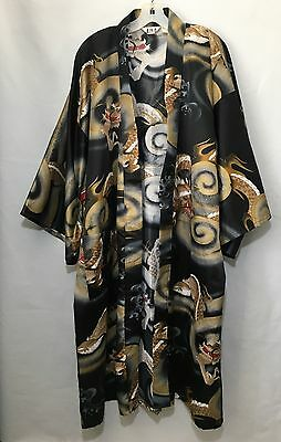 "Juguemm Japan Japanese Dragon 45""  Belted Kimono Robe Never Worn Polyester"