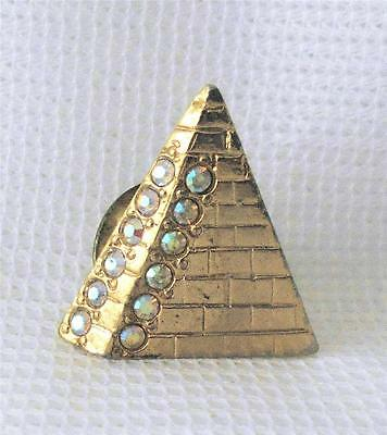 Shriner's Gold Tone Pyramid Shaped Pin Set with Clear Rhinestones