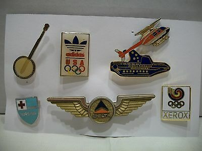 Vintage Pin Lot of 7 Mixed Adidas Delta Xerox Banjo Helicopter Submarine Vintage