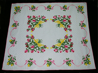 """Appliqué Rosebud Bowes Floral Hand Quilted  White Pink Green Gold 96½"""" x 81"""""""