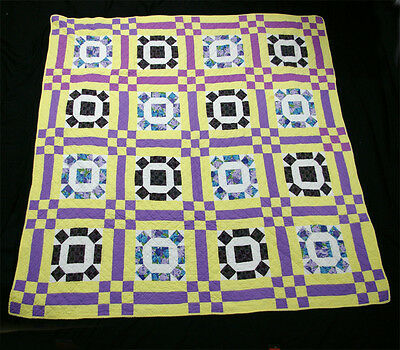 Vintage Patch Work Machine Quilted Quilt – Purple Yellow