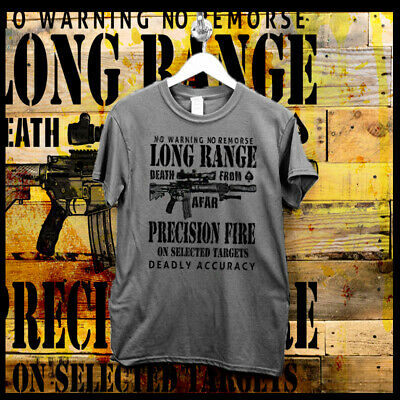 93504b6a US Army Sniper T-Shirt One Shot One Kill Long Range Death Combat Arms  Military