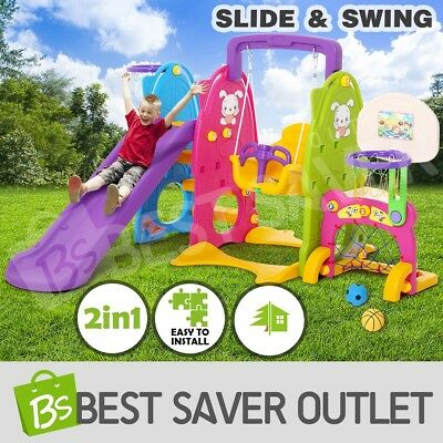 7in1 Kids Swing Slide Toddlers Play Toy Basketball Ring Hoop Activity Center Set