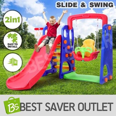 Outdoor kids Slide Swing Basketball Ring Activity Center Toddlers Play Toys Set