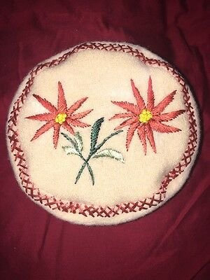 Vintage Child's Wool Beanie Pillbox Antique Embroidery Poinsettia Christmas Hat
