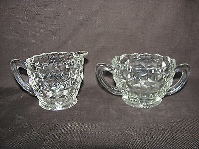 Jeannette Cubist  Clear Cube Glass Cream & Sugar Set