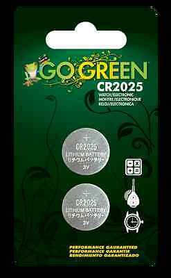 2 x CR2025  3V Lithium Button Batteries from Go Green Batteries - exp.2019