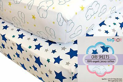 Fitted Crib Sheets - 100% Organic Jersey Cotton - 2-Pack, Extremely Soft, Bre...