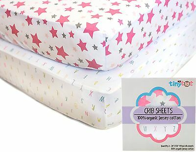 Fitted Crib Sheets - 100% Organic Jersey Cotton - 2-Pack, Soft, Breathable, F...