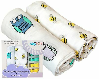 Organic Swaddle Blanket & Stroller Clip Set - Extremely Soft - Use As a Swadd...